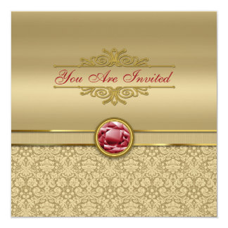 "Faux Dark Ruby Red Gemstone Metallic Gold Damask 5.25"" Square Invitation Card"