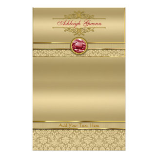 Faux Dark Ruby Red Gemstone Metallic Gold Damask Stationery