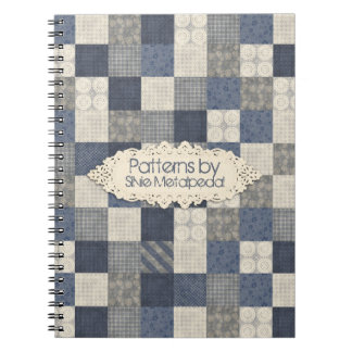 Faux denim blue cream quilting quilter pattern spiral note books