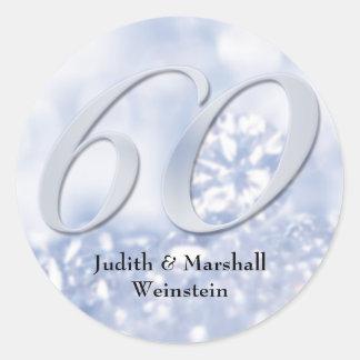 Faux Diamond 60th Anniversary Classic Round Sticker