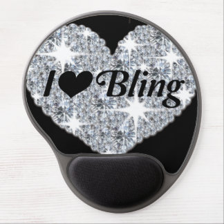 Faux diamond heart design 'i love bling' mouse mat