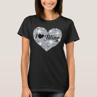 Faux diamond heart i love bling black t-shirt