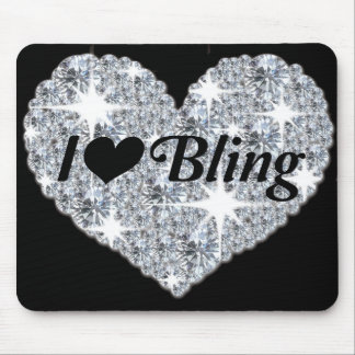 Faux diamond heart 'i love bling' mouse mat