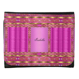 Faux Diamond hot pink Black Gold Print Wallet Wallet
