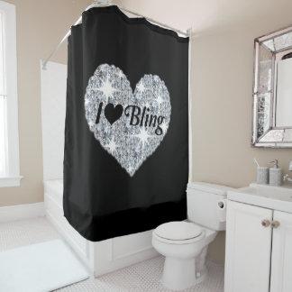 Faux Diamond I Love Bling Shower Curtain