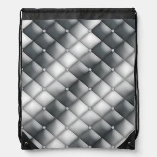 Faux Diamond Silver White Tufted Satin Bling Drawstring Bag