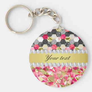 Faux Diamonds Foil Glitter Patchwork Triangles Basic Round Button Keychain