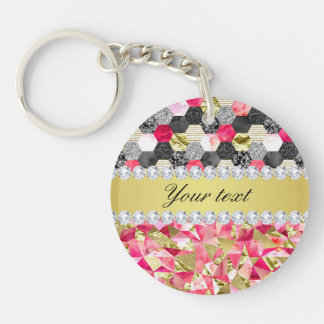 Faux Diamonds Foil Glitter Patchwork Triangles Double-Sided Round Acrylic Keychain