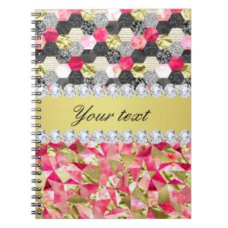 Faux Diamonds Foil Glitter Patchwork Triangles Notebook