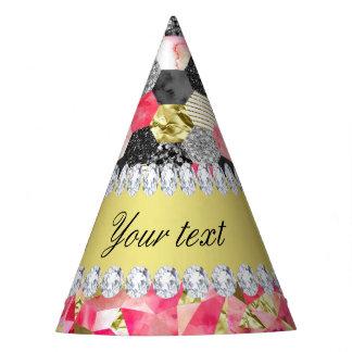 Faux Diamonds Foil Glitter Patchwork Triangles Party Hat