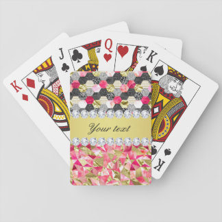 Faux Diamonds Foil Glitter Patchwork Triangles Playing Cards