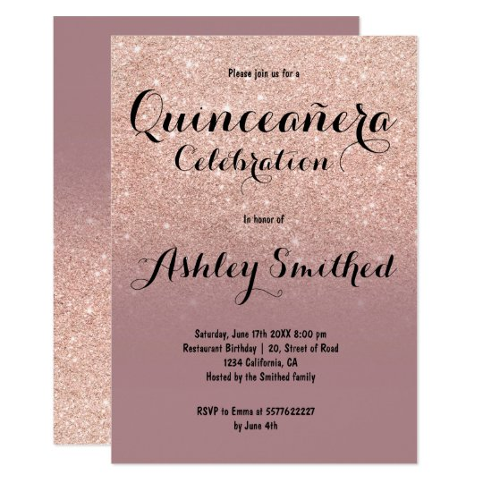Faux dusty rose gold glitter ombre Quinceañera Card