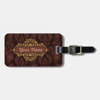"Faux ""Embossed Leather"" w/Brass  Luggage Tag"