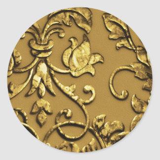 Faux Embossed Metallic Damask Gold Stickers