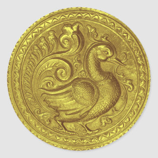 Faux Embossed Peacock Gold Set 1026 Classic Round Sticker