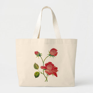 Faux Embroidered Deep Pink Roses Jumbo Tote Bag