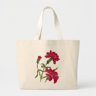 Faux Embroidered Red Carnations Jumbo Tote Bag