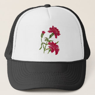 Faux Embroidered Red Carnations Trucker Hat