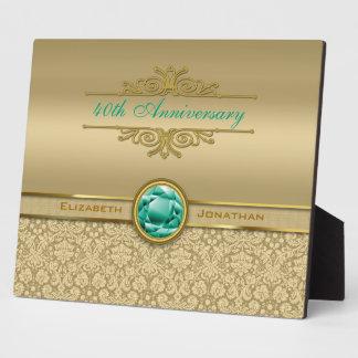 Faux Emerald Gemstone Metallic Shiny Gold Damask Plaque