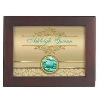Faux Emerald Green Gemstone Metallic Gold Damask Keepsake Box