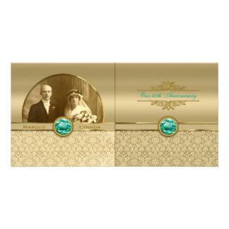 Faux Emerald Green Gemstone Metallic Gold Damask Photo Cards