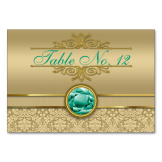 Faux Emerald Green Gemstone Metallic Gold Damask Table Card