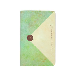 faux envelope in seafoam watercolor with wax seal journal