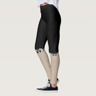 Faux Fishnet Capri Novelty Goth Leggings