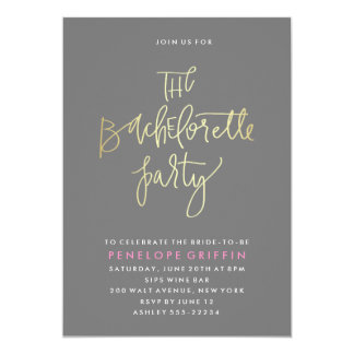 Faux Foil Bachelorette Party Invitation