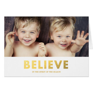 Faux Foil Believe | Folded Holiday Greeting Card