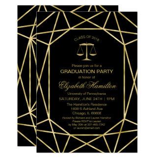 Faux Foil Gold Geometric Law School Grad Party Card