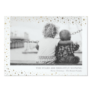 Faux Foil Stars Are Brightly Shining Holiday Card