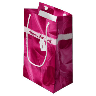 Faux Fuchsia Lame' Metallic Printed Texture Small Gift Bag