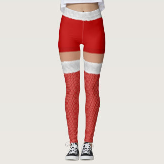 Faux Fur Fishnet Festive Red Hold Ups Leggings