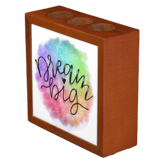 Faux Galaxy Watercolor Rainbow Dream Big Desk Organizer