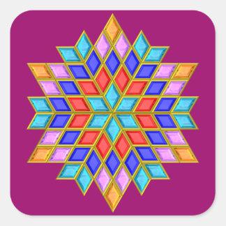Faux Gemstone Star Quilt Square Sticker