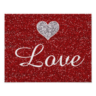 Faux Girly Red and Silver Glitter Hearts Posters