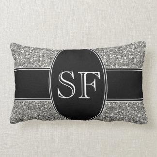 Faux Glitter and Black Monogram Lumbar Pillow