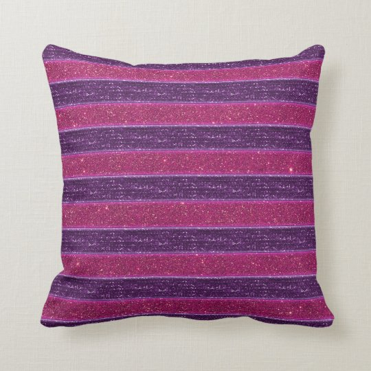 Faux Glitter and Sequin Pink and Purple Throw Pillow