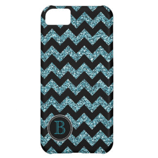Faux Glitter Black and Blue Chevron Monogram iPhone 5C Cover