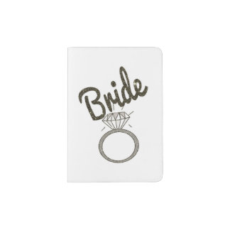 """Faux Glitter """"Bride"""" Typography and Diamond Ring Passport Holder"""