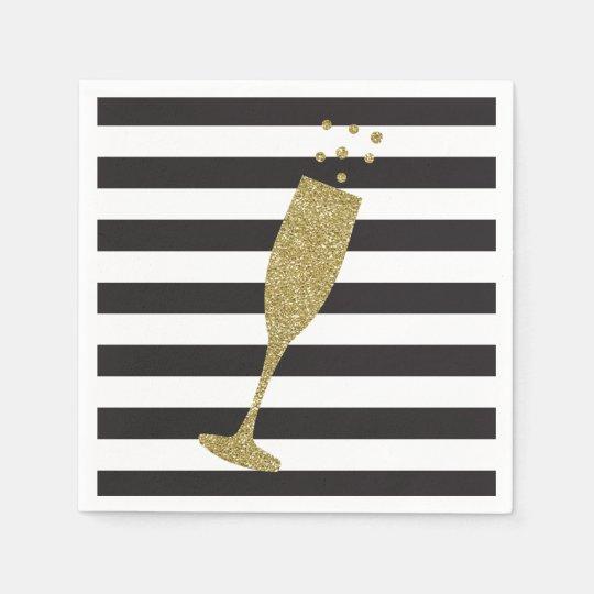 Faux Glitter Champagne Flute Chic Paper Napkins