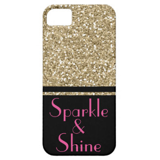 Faux Glitter Deco Sparkle & Shine gold pink black Case For The iPhone 5