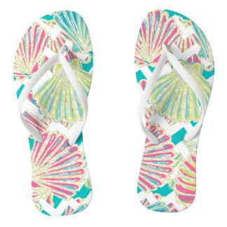 Faux Glitter Elegant Seashells Chevron Flip Flops