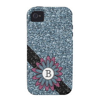 Faux Glitter Flower and Monogram Glam Girl Case-Mate iPhone 4 Case