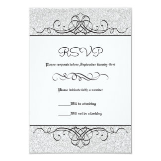 Faux Glitter Formal Vintage Flourish - RSVP Card