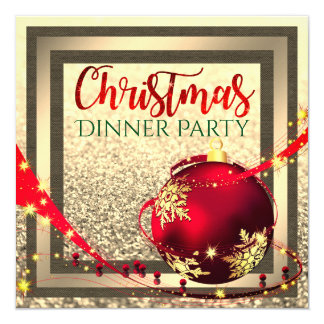 Faux glitter frame xmas Dinner Party Invite