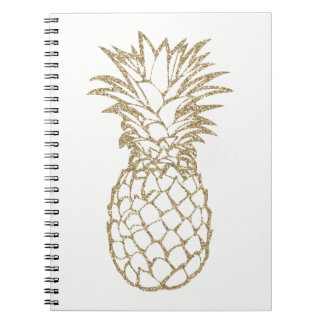 Faux Glitter Gold Pineapple White Spiral Notebook