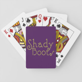 Faux Glitter Gold Shady Boots Playing Cards