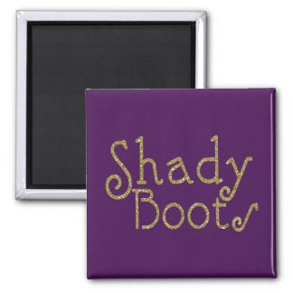 Faux Glitter Gold Shady Boots Square Magnet